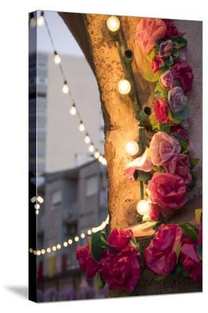 Portugal, Tomar, Santarem District. Colorfully Decorated Streets During the Trays Festival-Emily Wilson-Stretched Canvas Print