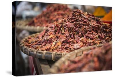 Dried Red Chillies for Sale at Pyin Oo Lwin (Pyin U Lwin) Market, Myanmar (Burma), Asia-Matthew Williams-Ellis-Stretched Canvas Print