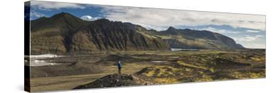 Tourist in Skaftafell National Park, South Region of Iceland (Sudurland), Iceland, Polar Regions-Matthew Williams-Ellis-Stretched Canvas Print