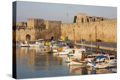 View across Tranquil Kolona Harbour to the City Walls, Dodecanese Islands-Ruth Tomlinson-Stretched Canvas Print