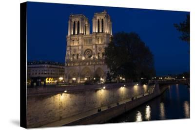 Notre Dame Cathedral and River Seine at Night, Paris, France, Europe-Peter Barritt-Stretched Canvas Print
