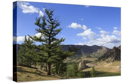 Elevated View Towards Turtle Rock and Distant Mountains, Mongolia-Eleanor Scriven-Stretched Canvas Print