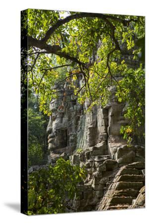 Buddha Face on the Western Gate of Angkor Thom, Siem Reap, Cambodia, Southeast Asia-Alex Robinson-Stretched Canvas Print