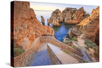 Soft Colors of Dawn on the Red Cliffs of Ponta Da Piedade, Lagos, Algarve, Portugal, Europe-Roberto Moiola-Stretched Canvas Print