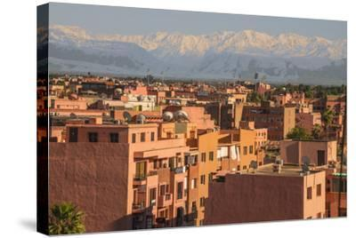 Marrakech Panorama, with Atlas Mountains in the Backgroud, Marrakesh, Morocco, North Africa, Africa-Guy Thouvenin-Stretched Canvas Print