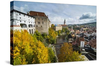 View over Cesky Krumlov and the Vltava River, UNESCO World Heritage Site, Czech Republic, Europe-Michael Runkel-Stretched Canvas Print