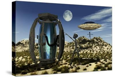 Grey Aliens Tending to a Storage Container Used to Transport Specimens-Stocktrek Images-Stretched Canvas Print