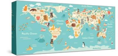 Animals World Map-coffeee_in-Stretched Canvas Print