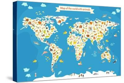 Map of the World with Animals. Beautiful Colorful Vector Illustration-coffeee_in-Stretched Canvas Print