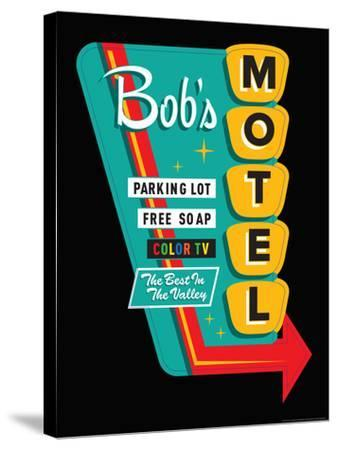 Bob's Motel in Black-JJ Brando-Stretched Canvas Print
