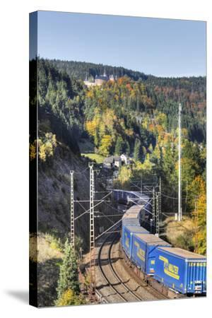 Railroad Line Winds Along a Mountainside, Freight Train, Forest, Scenery, Castle, Houses-Harald Schšn-Stretched Canvas Print