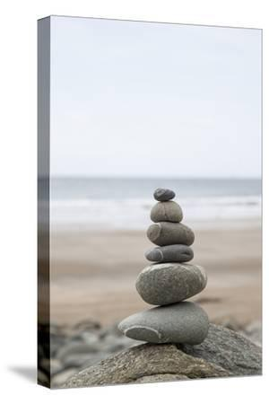 Stone Tower, Balance, Pebble Stones, Beach-Andrea Haase-Stretched Canvas Print