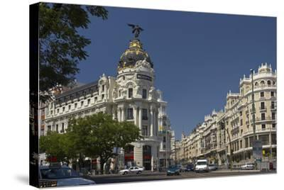 Spain, Madrid, Grain Via, Metropolis-Haus, Street-Scene-Chris Seba-Stretched Canvas Print