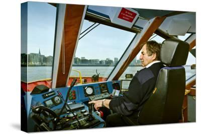 Germany, Hamburg, Elbe, Harbour, Captain, Ferry, Harbour Ferry-Ingo Boelter-Stretched Canvas Print