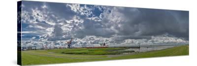 Germany, Schleswig-Holstein, BrunsbŸttel (Town), Dyke, Industry, Lock-Ingo Boelter-Stretched Canvas Print