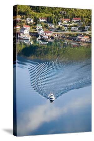 Scandinavia, Norway, Lofoten, Moskenesoey, Pure, Fisher-Place, Lake, Boat, Drives-Rainer Mirau-Stretched Canvas Print