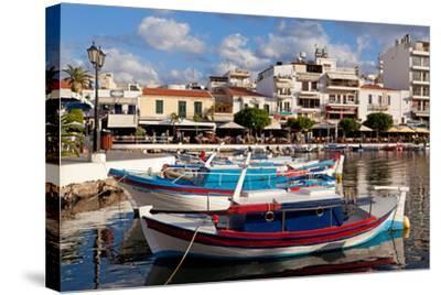 Greece, Crete, Agios Nikolaos, Lake Voulismeni, Fishing Boats-Catharina Lux-Stretched Canvas Print