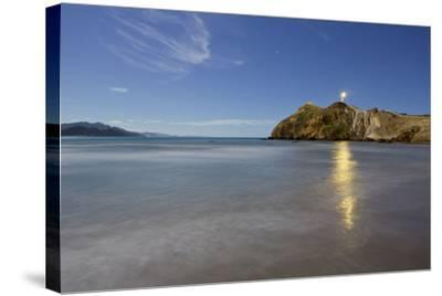 Castle Point Lighthouse in the Moonlight, Wellington, North Island, New Zealand-Rainer Mirau-Stretched Canvas Print