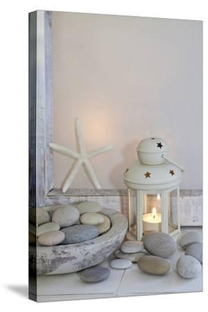 Decoration, White, Window Frames, Lantern, Candle, Bowl, Stones, Starfish-Andrea Haase-Stretched Canvas Print