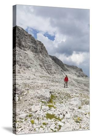 Hiker in the Way to the Summit of the Piz BoŽ, the Dolomites, South Tyrol, Italy, Europe-Gerhard Wild-Stretched Canvas Print