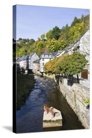 Germany, North Rhine-Westphalia, Monschau, Rur, Half-Timbered Houses, Historical-Frank Lukasseck-Stretched Canvas Print