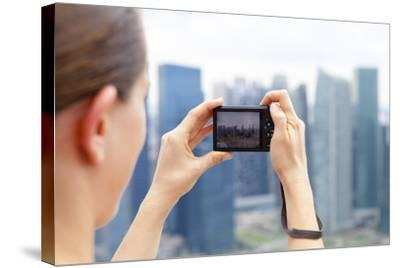 European Tourist Taking a Picture of Singapore Skyline-Harry Marx-Stretched Canvas Print