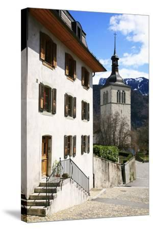 Switzerland, Fribourg, Gruy?res in the Swiss Canton Fribourg, View of Town with Church-Uwe Steffens-Stretched Canvas Print