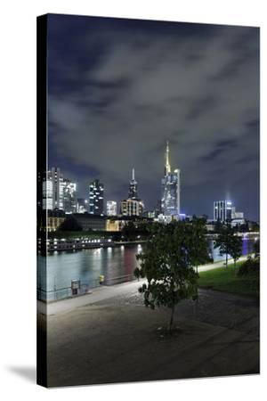Holbeinsteg, Footbridge, Skyline Banking District, Frankfurt on the Main, Hessen, Germany-Axel Schmies-Stretched Canvas Print