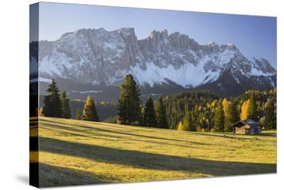 Autumnal Alp in Front of the Mountain Latemar, K?lbleggiesen, South Tyrol-Rainer Mirau-Stretched Canvas Print