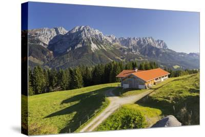 Farm, Wilder Kaiser, Scheffau, Tyrol, Austria-Rainer Mirau-Stretched Canvas Print