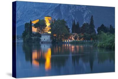 Castle of Toblino in the Lago Tu Santa Massenza, Trentino, Italy-Rainer Mirau-Stretched Canvas Print