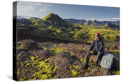 Hiker Resting, Laugarvegur, Fjallabak, South Iceland, Iceland-Rainer Mirau-Stretched Canvas Print