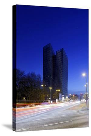 Dancing Towers, Office Building and Commercial Building at the Reeperbahn in the Evening-Axel Schmies-Stretched Canvas Print