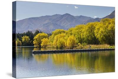 Lake Benmore, Woman with Child, Shore, Footbridge, Otago, South Island, New Zealand-Rainer Mirau-Stretched Canvas Print