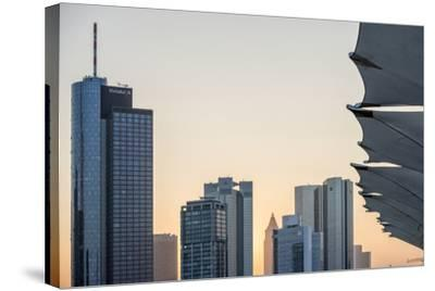 Germany, Hesse, Frankfurt Am Main, Frankfurt, Financial District, Sundown-Bernd Wittelsbach-Stretched Canvas Print