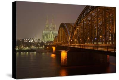 Germany, North Rhine-Westphalia, View from the Rhine from the Deutz Rhine Banks-Andreas Keil-Stretched Canvas Print
