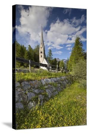 Church in Saint Jakob in Pfitsch, South Tirol, Italy-Rainer Mirau-Stretched Canvas Print