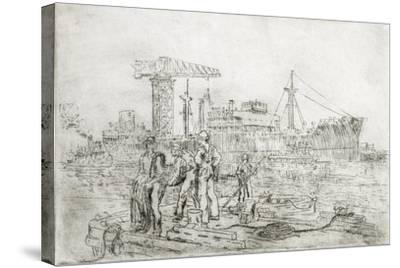 Scene in Shipyard-Thomas C. Skinner-Stretched Canvas Print