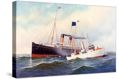 British Ship Majestic with Pilot Boat New York, 1898-Antonio Jacobsen-Stretched Canvas Print