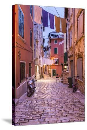 Croatia, Istria, Adriatic Coast, Rovinj, Old Town Lane in the Evening-Udo Siebig-Stretched Canvas Print