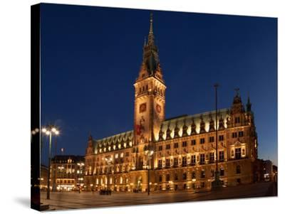 Hamburg, Panorama, City Hall Market, in the Evening-Catharina Lux-Stretched Canvas Print