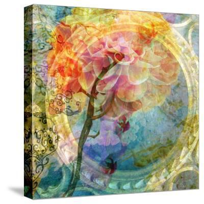 A Multicolor Translucent Floral Montage of a Dahlia-Alaya Gadeh-Stretched Canvas Print