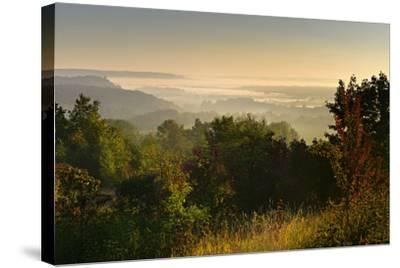 Morning Fog in the Saale Valley, Near Naumburg, Burgenlandkreis, Saxony-Anhalt, Germany-Andreas Vitting-Stretched Canvas Print