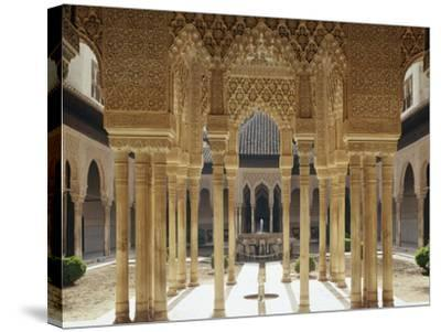 Spain, Andalusia, Granada, Alhambra, Lion's Court-Thonig-Stretched Canvas Print