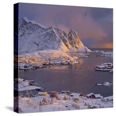 Reine' (Village), Lilandstinden, Moskenesoya (Island), Lofoten, 'Nordland' (County), Norway-Rainer Mirau-Stretched Canvas Print
