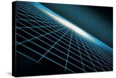 Blue Grid Graphic-Comstock-Stretched Canvas Print