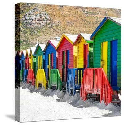 Awesome South Africa Collection Square - Colorful Beach Huts on Muizenberg - Cape Town II-Philippe Hugonnard-Stretched Canvas Print