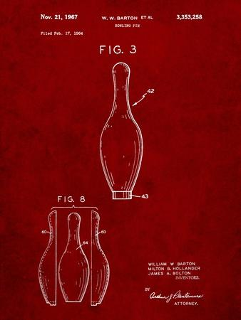 Bowling Pin 1967 Patent-Cole Borders-Stretched Canvas Print