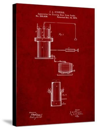 Antique Beer Cask Diagram Patent-Cole Borders-Stretched Canvas Print