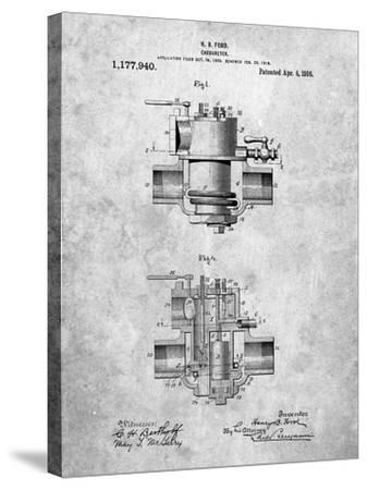 Ford Carburetor 1916 Patent-Cole Borders-Stretched Canvas Print